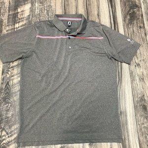 Footjoy FJ athletic fit grey striped golf polo